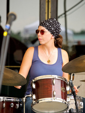 Drummer Karen Tomalis fills in for Doug's regular rhythm section.