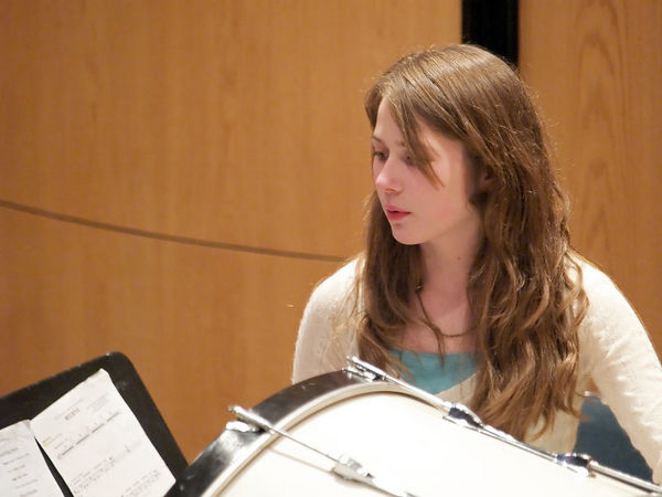 It's interesting - this band is full of female percussionists.  This young lady had the bass drum during the last piece.