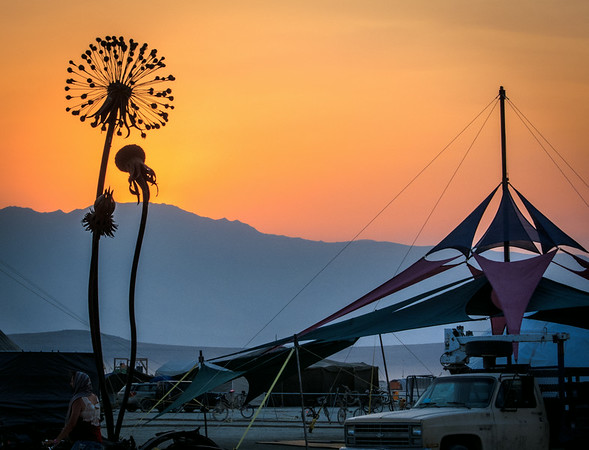 Sunset at the end of the pre-burn, Burning Man 2012