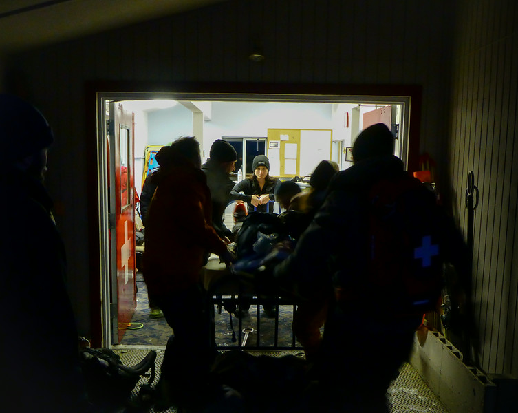A practice patient enters the first aid room