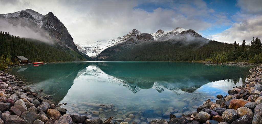Lake Louise on a cloudy morning.  8 vertical images stitched together to create this image.