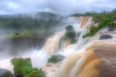 HDR photo with San Martin Island in the distance from the upper trail at Iguazu Falls.