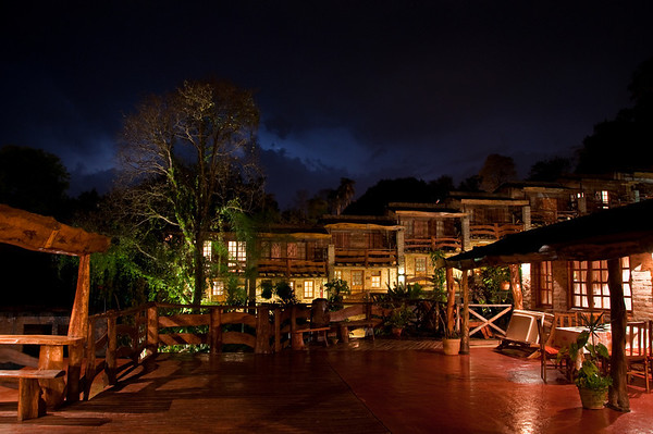 Los Troncos at night during a lightning storm in Puerto Iguazu.