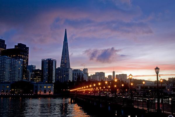 Downtown San Francisco as the sun sets.