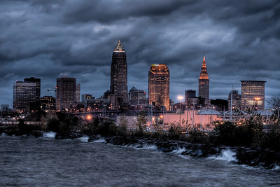 Cleveland Skyline at Dusk from Edgewater Park