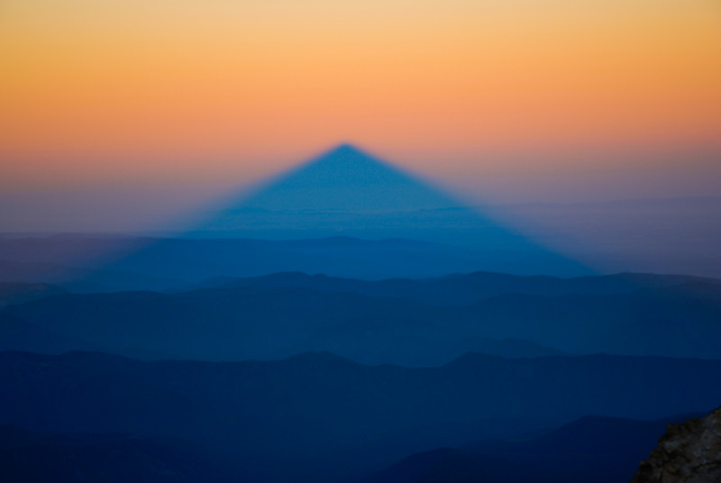 Mt Hood Shadow at Sunrise from the summit