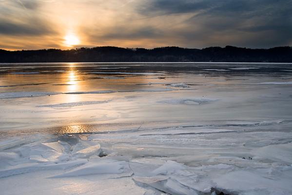 Sunset Over the Frozen Susquehanna River