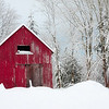 ~The Little Red Barn~<br /> <br /> This was taken after the terrific snowstorm during the Winter of 2008.  This barn is less than a mile from my home.  This image exsisted in my mind for 17 years, The morning I shot this, the conditions were perfect.