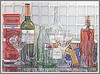 A still life composed of advertising tins, wine bottles, baccarat crystal, coke bottles and red peppers in vinegar; the image has been manipulated in Photoshop to create an image similar to a fine art silkscreen print that emphasizes the reflections.