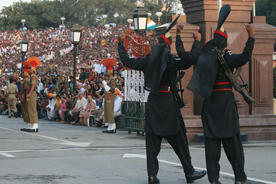 Ceremonial closing of the border, India-Pakistan Border.