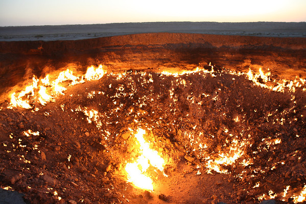Darvaza natural gas crater, Turkmenistan.