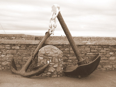 These anchors were from the lighthouse at Hook Head, County Wexford, Ireland.  It's the oldest lighthouse in Ireland, and was originally run by monks.