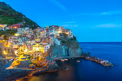 Blue hour at Manarola, Italy.