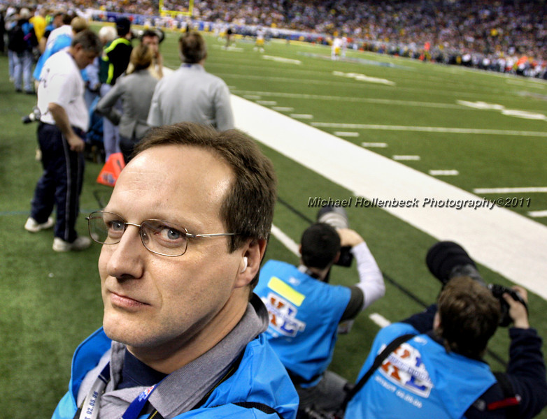 Self portrait on Ford Field during Super Bowl XL.