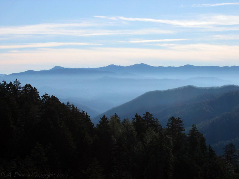 Early Morning View from NewFound Gap, Smoky Mountains N.P.
