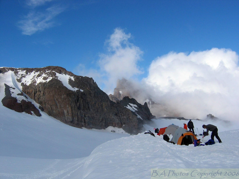 Mt. Climbers camping 10,800 ft. on the face of Mt. Rainier. Mt. Rainier National Park.