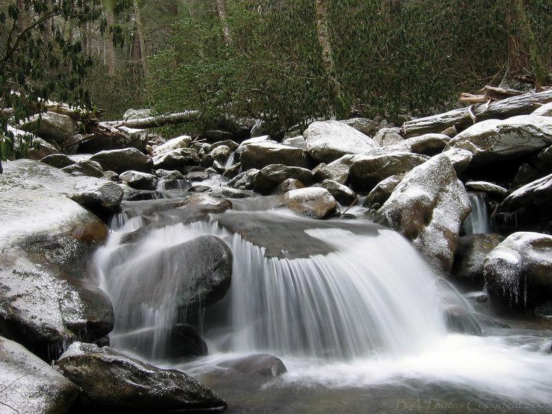 Roaring Fork winter scene, Smoky Mountains N.P.