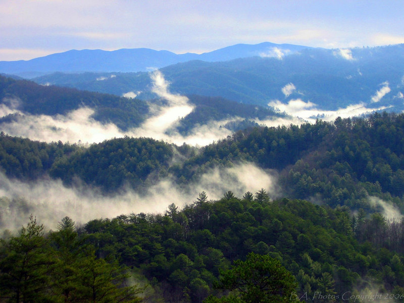 Early morning view from the Foothills Parkway. Smoky Mountains N.P.