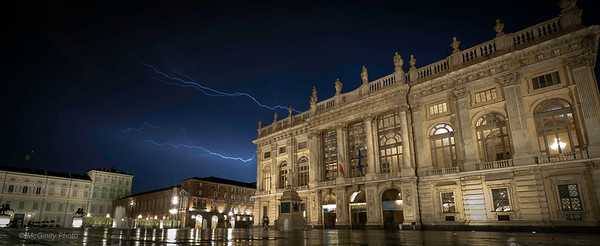 Lightning across the Plaza in Turin Italy