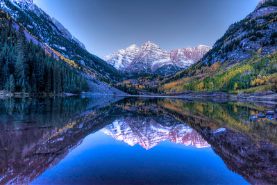 Maroon Bells Colorado just before sunrise on October 1st 2013.  The park closed down that day at 9am due the the government shutdown and has been closed for over a week now.  It was frigid cold, early and awesome :)