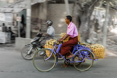 Bicyclist with Tanaka in Myanmar