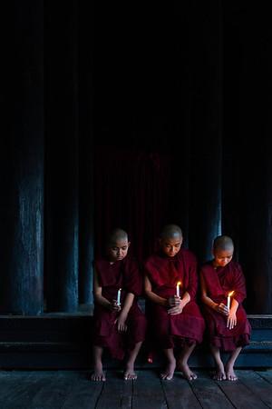 Three Novice Monks from the Shwekyin Monastery