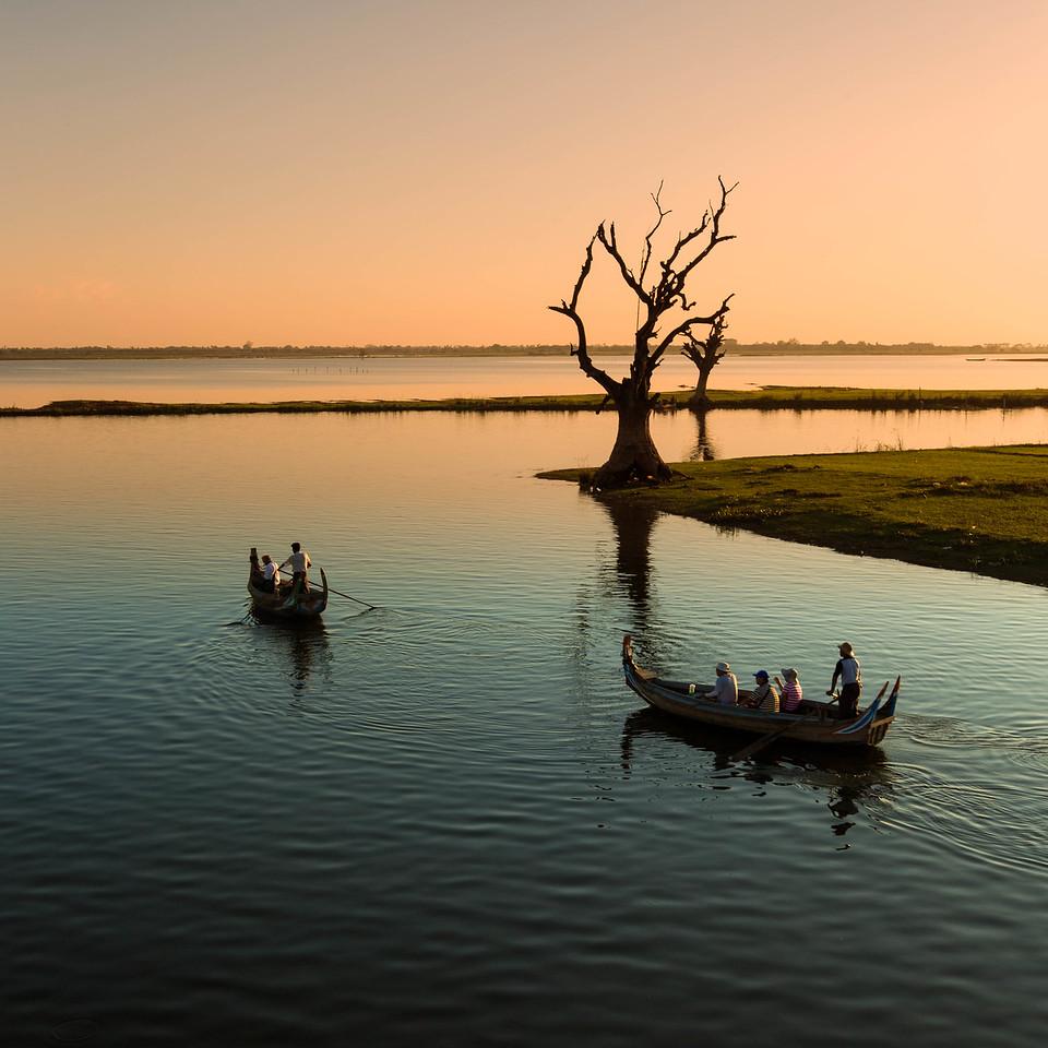 The Taungthaman Lake at Sunset