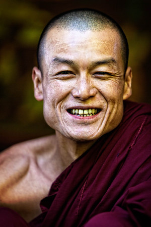 Cheerful Monk at the Ywama Floating Market
