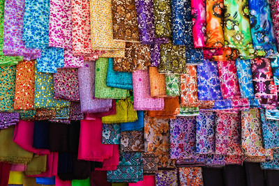 Colorful Fabrics in the He Hoe market