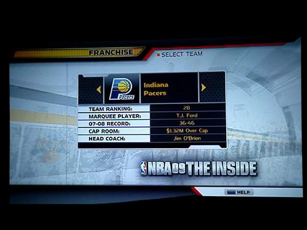 PS3 NBA 09 The Inside Franchise Menu Flow