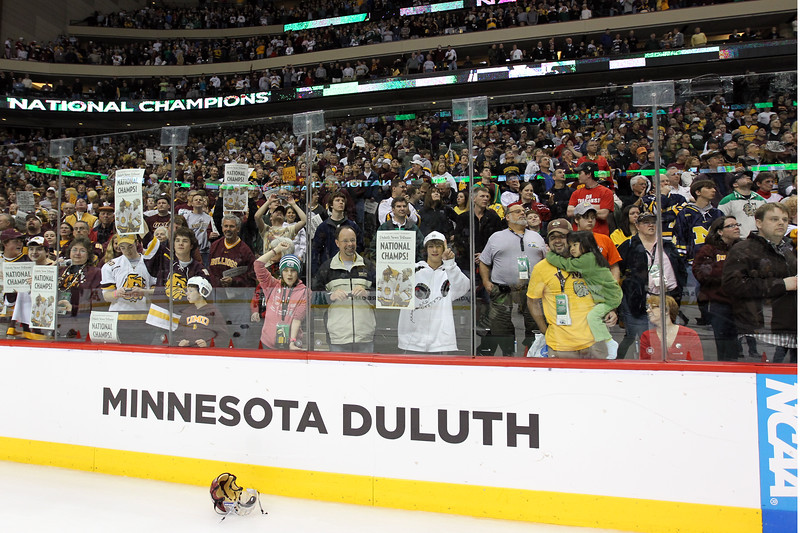 University of Minnesota Duluth fans celebrated winning the NCAA Frozen Four championship game between the University of University of Minnesota Bulldogs and the University of Michigan Wolverines at the Xcel Energy Center St, Paul, MN. UMD won the game 3-2 in overtime.