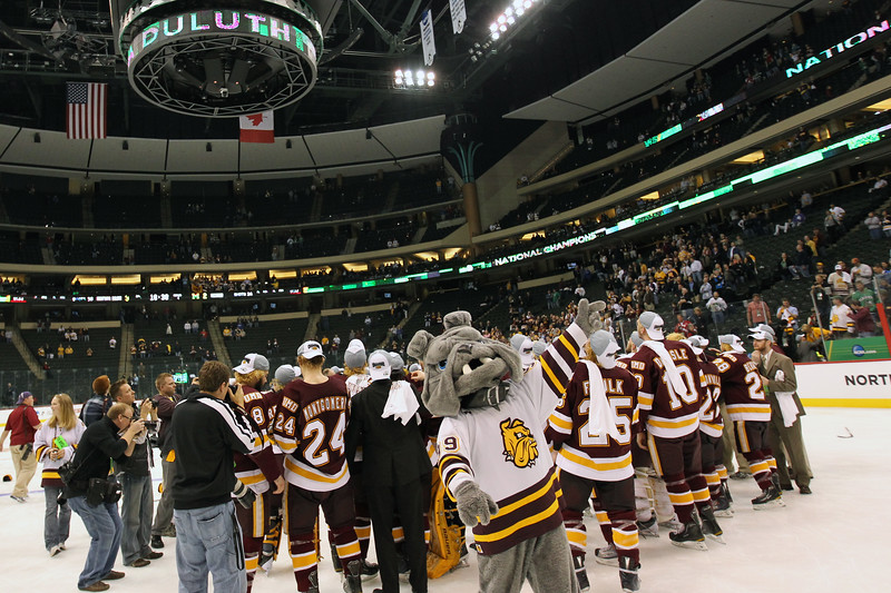 """University of Minnesota Duluth Bulldogs """"Champ"""" celebrates the national championship of the NCAA Frozen Four between the University of Minnesota Bulldogs and the University of Michigan Wolverines at the Xcel Energy Center St, Paul, MN. UMD won 3-2 in overtime."""