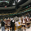 "University of Minnesota Duluth Bulldogs ""Champ"" celebrates the national championship of the NCAA Frozen Four between the University of Minnesota Bulldogs and the University of Michigan Wolverines at the Xcel Energy Center St, Paul, MN. UMD won 3-2 in overtime."