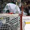 University of North Dakota Fighting Sioux goalie Aaron Dell (32)prepares for the final minutes in third period of the NCAA Frozen Four between the University of Michigan Wolverines and the University of Minnesota Fighting Sioux at the Xcel Energy Center St, Paul, MN. Michigan wins the game 2-0 to advance to the championship game.