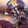 University of Minnesota Gophers freshman backup quarterback Max Shortell (11) enjoys what he's seeing on the field at a football game against the University of Iowa Hawkeyes at TCF Stadium in Minneapolis, Minnesota. The Gophers won the game 22-21.