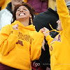 University of Minnesota Gophers fans celebrate a score of a football game against the University of Iowa Hawkeyes at TCF Stadium in Minneapolis, Minnesota. The Gophers won the game 22-21.