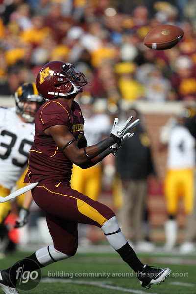 University of Minnesota Gophers wide receiver Brandon Green (1) receives a punt in the first quarter of the football game against the University of Iowa Hawkeyes at TCF Stadium in Minneapolis, Minnesota. The Gophers won the game 22-21.