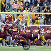 University of Minnesota Gophers kicker Jordan Wettstein (39) makes a  field goal from the 28 yard line in the third quarter of a football game against the University of Iowa Hawkeyes at TCF Stadium in Minneapolis, Minnesota. The Gophers won the game 22-21.