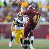 University of Minnesota Gophers punter Dan Orseske (41) sends a punt in a football game against the University of Minnesota Gophers at TCF Stadium in Minneapolis, Minnesota. Orseske punted five times for 213 yards, with his longest of 68 yards helping the Gophers to win 22-21.