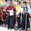 University of Minnesota Gophers head coach Jerry Kill on the sidelines of a football game against the University of Iowa Hawkeyes at TCF Stadium in Minneapolis, Minnesota. The Gophers won the game 22-21.