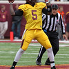 University of Minnesota Gopher quarterback MarQueis Gray (5) sets up for a pass at the University of Minnesota inter-squad Spring game  at the TCF Stadium in Minneapolis, MN.