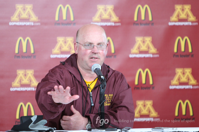 University of Minnesota Gopher head coach Jerry Kill addresses the media following its inter-squad Spring game  at the TCF Stadium in Minneapolis, MN.