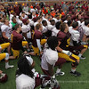 University of Minnesota Gopher head coach Jerry Kill addresses his team following the University of Minnesota inter-squad Spring game  at the TCF Stadium in Minneapolis, MN.