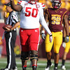 University of Nebraska Cornhuskers left tackle Yoshi Hardrick (50) celebrates reaching a first down in the first half of a football game between Nebraska and University of Minnesota Gophers at TCF Stadium in Minneapolis, Minnesota. The Cornhuskers won the game 41-14.