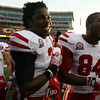 University Nebraska Cornhuskers safety Daimion Stafford (3) and wide receiver Brandon Kinnie (84) leave TCF Stadium all smiles after their their 41-14 win over the University of Minnesota Gophers.