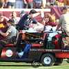 University of Minnesota Gopher head coach Jerry Kill is wheeled off the field following the experiencing of seizures with 20 seconds left in the football game between New Mexico State versus University of Minnesota  game  at the TCF Stadium in Minneapolis, MN.  New Mexico State won the game 28-21.