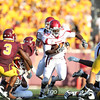 New Mexico State Auggie running back Victor Johnson (29) finds a hole down the middle in the fourth quarter a football game between New Mexico State versus University of Minnesota  game at TCF Stadium in Minneapolis, Minnesota. New Mexico State won the game 28-21.