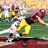 University of Minnesota Gopher tight end Collin McGarry (88) catches a pass for a touchdown just before the half the football game between the New Mexico State versus University of Minnesota at the TCF Stadium in Minneapolis, MN.  At the half, New Mexico State leads 21-14.