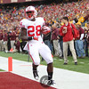 University of Wisconsin Badgers runningback Monte Ball (28) scores the first touchdown in the first quarter of the football game against University of Minnesota Gophers at TCF Stadium in Minneapolis, MN.  The Badgers lead 14-0 after the first quarter and went on to win the game 42-13.