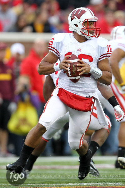 University of Wisconsin Badgers quarterback Russell Wilson (16) drops back for a pass in the football game against the University of Minnesota Gophers at TCF Stadium in Minneapolis, MN.  The Badgers won the game 42-13.